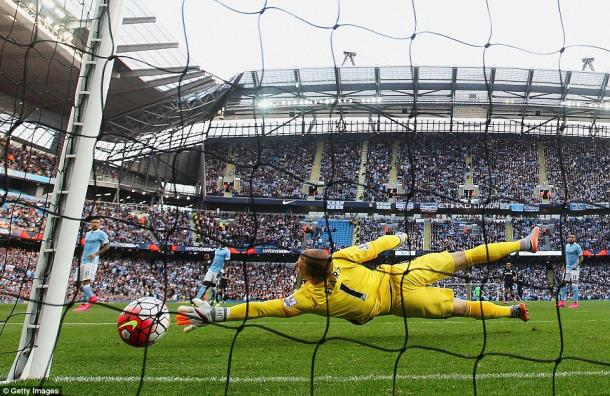 Joe Hart is beaten by Victor Moses' strike at the Etihad. (Photo: Getty)
