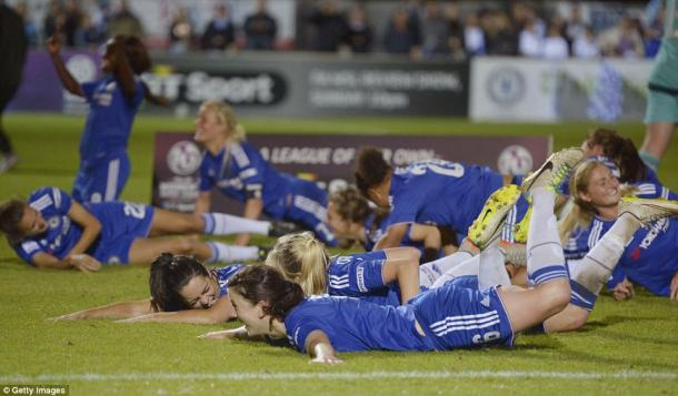 Chelsea Ladies put heartbreak in 2014 behind them in 2015, as they clinched a league and cup double. | Photo: Getty