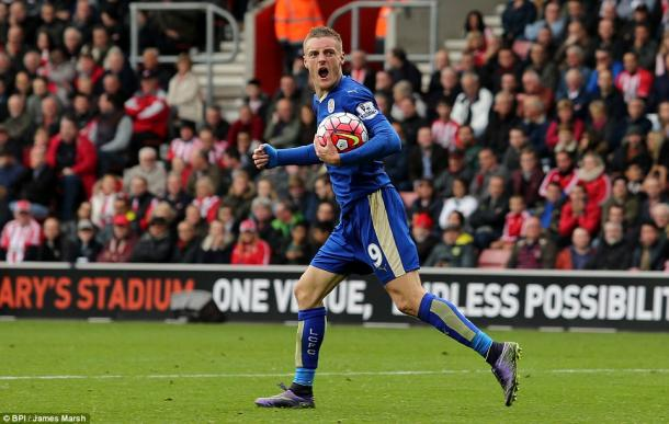 Vardy esulta dopo il gol segnato all'andata. FOnte: BPI/ James Marsh