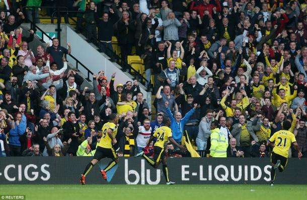 Odion Igahlo celebrating one of his two goals in Watford's 2-0 win over West Ham last season | Photo: Reuters