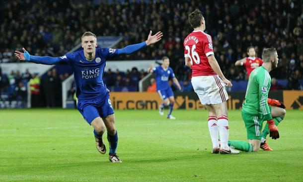 Vardy celebrates giving Leicester the lead against United at the King Power stadium | Photo: Getty