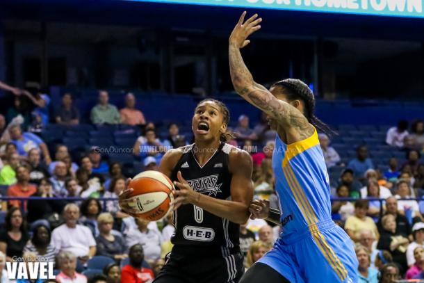 San Antonio Stars #6 Alex Montgomery prepares to go up during WNBA game between Chicago Sky - San Antonio Stars