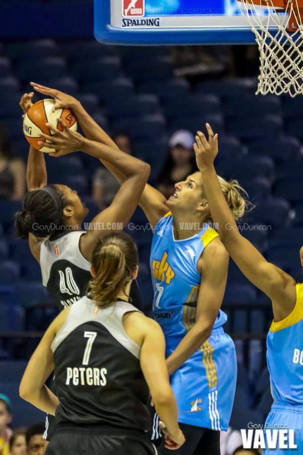 Chicago Sky's #11 Elena Delle Donne blocks San Antonio's #40 Kayla Alexanders shot during WNBA basketball game between Chicago Sky - San Antonio Stars