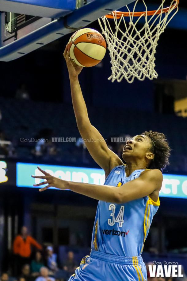 Chicago Sky's #34 Imani Boyette drives in for the layup during WNBA basketball game between Chicago Sky - San Antonio Stars