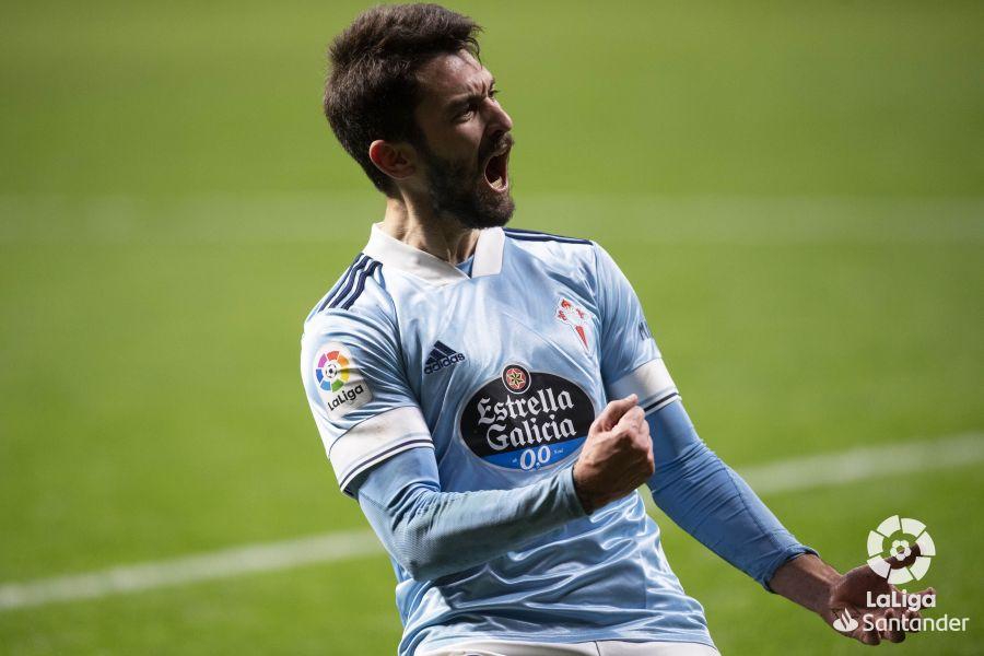 Ferreyra tras anotar su primer gol con el Celta. | Foto: La Liga.
