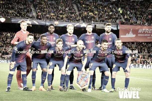 Once inicial del Fútbol Club Barcelona en el Barça-Roma | Foto de Noelia Déniz, VAVEL