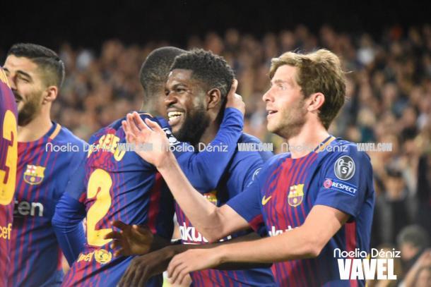 Los jugadores del Barça celebran el segundo gol | Foto: Noelia Déniz, VAVEL