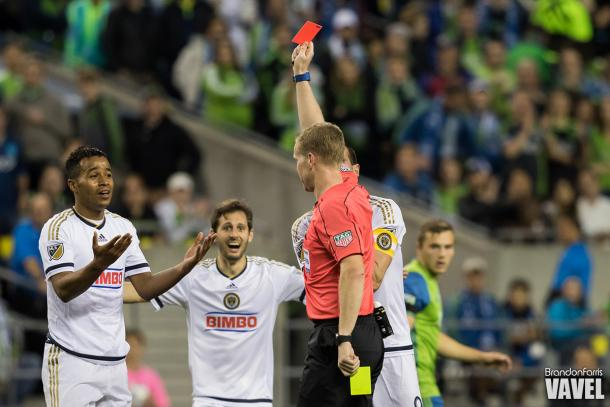 Roland Alberg (left) is sent off for a second yellow card