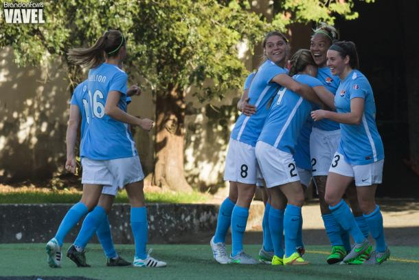 Sky Blue players celebrating (Photo: Brandon Farris/ Vavel USA)