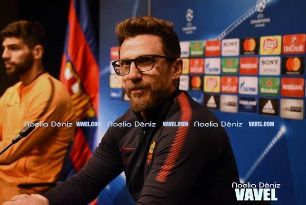 Di Francesco compareciendo ante los medios de comunicación en el partido de ida | Foto: Noelia Déniz, VAVEL.