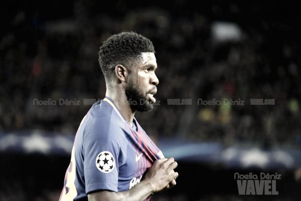 Umtiti celebrando el segundo gol del Fútbol Club Barcelona | Foto de Noelia Déniz, VAVEL