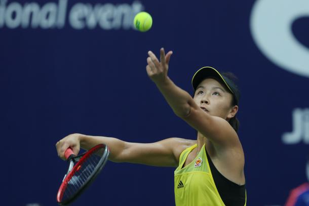 Peng Shuai serves during the final | Photo: Xu Nan Ping / Jiangxi Women's Open