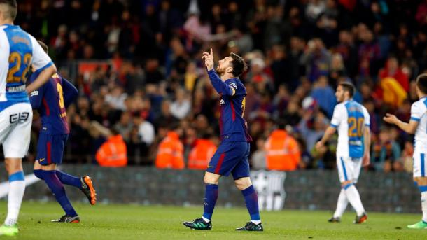 Messi celebra uno de los goles ante el Leganés / Foto: Barcelona