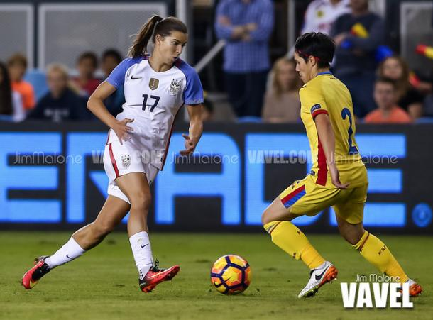 Tobin Heath with the US Women's national team friendly against Romania | Source: Jim Malone - VAVEL USA