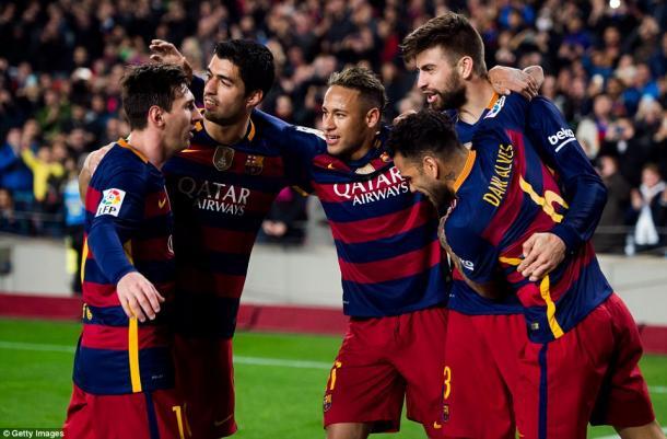 L'esultanza dei giocatori Blaugrana dopo il 3-1 rifilato all'Atheltic l'anno scorso in Coppa del Re