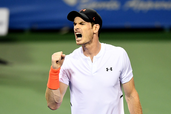 Andy Murray celebrates during his brutal late-night third-round match in Washington. Photo: Getty Images
