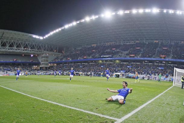 Jonathan Pereira celebra el tanto   Foto: Real Oviedo
