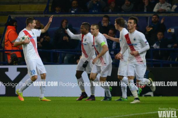 Brugge celebrate Izquierdo's goal. (Picture: Rodrigo Peña - VAVEL.com)