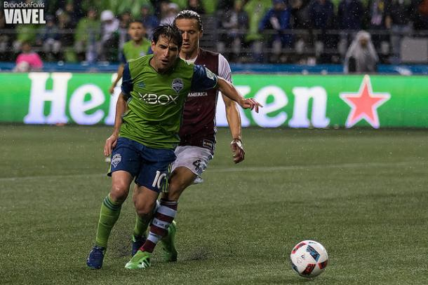 The moment Marc Burch fouled Nicolás Lodeiro in the box | Source: Brandon Farris - VAVEL USA