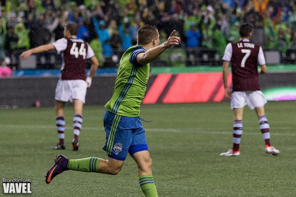 Jordan Morris celebrates after leveling the score at 1-1 in the 19th minute | Source: Brandon Farris - VAVEL USA