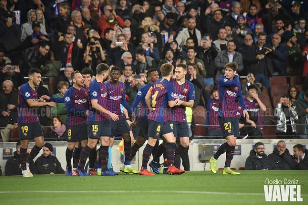 Los jugadores del Barça celebrando el 1-0 ante los Spurs | Foto: Noelia Déniz (VAVEL)