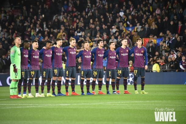 Los jugadores del Barça ante el Tottenham en Champions | Foto: Noelia Déniz (VAVEL)
