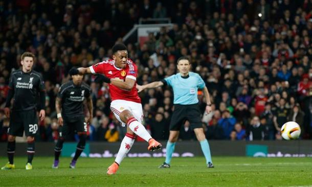 Martial scored his second goal in two games against Liverpool on Thursday | Photo: Getty Images