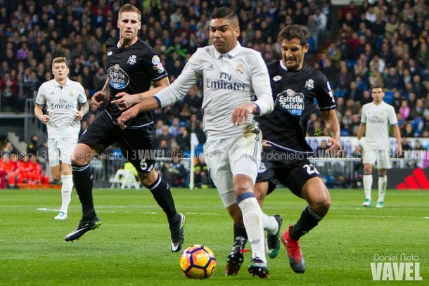 Los jugadores del Depor en el partido ante el Real Madrid. Foto: Daniel Nieto (Vavel)