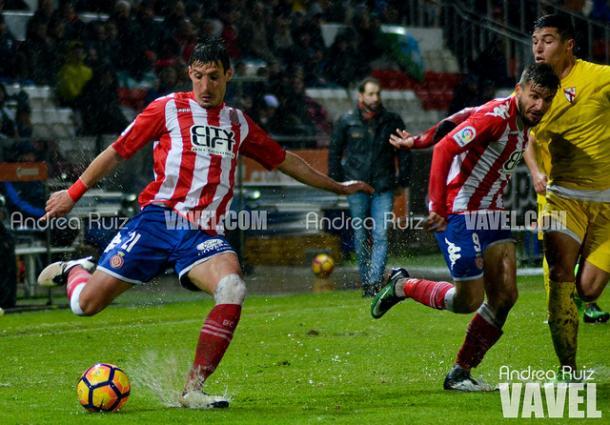 Sandaza volvió al Girona la temporada pasada, donde anotó nueve tantos.   Foto: Andrea Ruiz