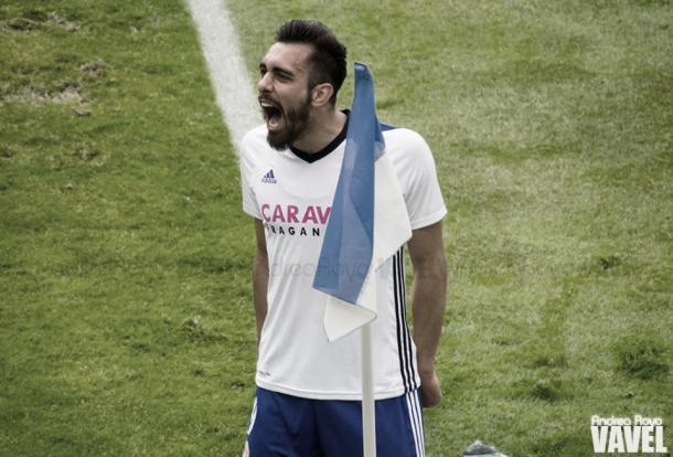 Borja Iglesias con el Real Zaragoza | Foto: Andrea Royo, VAVEL