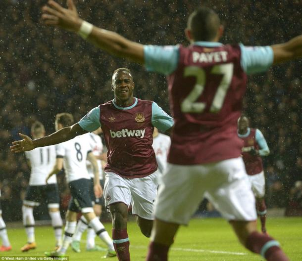 Above: Michail Antonio celebrating his goal in West Ham's 1-0 win over Tottenham | Photo: West Ham United via Getty Images