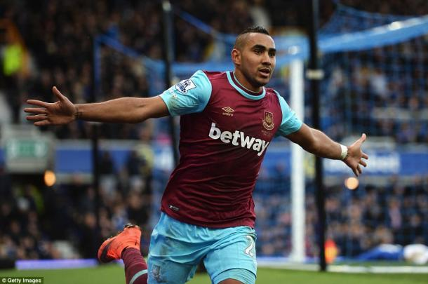 Above: Dimitri Payet celebrating his goal in West Ham's 3-2 win over Everton | Photo: Getty Images