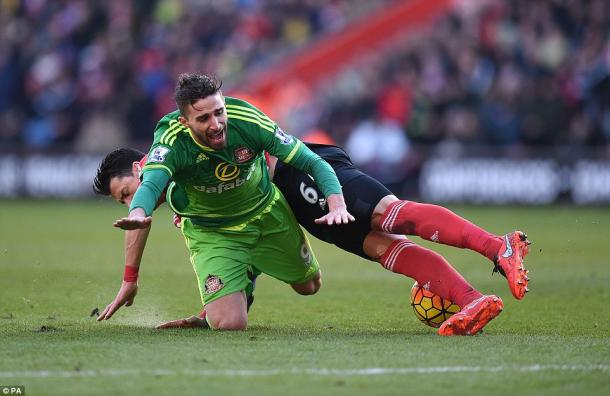 Borini was the victim of Fonte's red-card worthy challenge. | Photo: PA