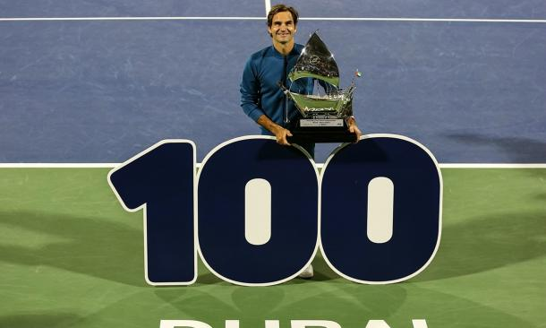 Federer claimed revenge on Tsitsipas in the Dubai final for his historic 100th title/Photo: Xinhua