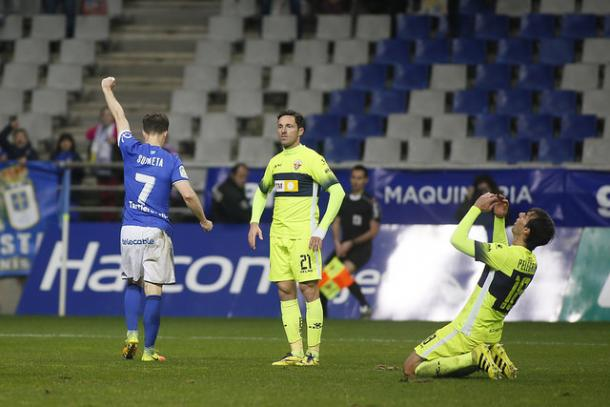 Susaeta, tras marcar el tanto | Foto: Real Oviedo