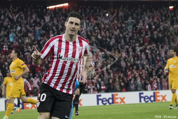 Aduriz celebra el 2-1 frente al APOEL. | UGS Vision.