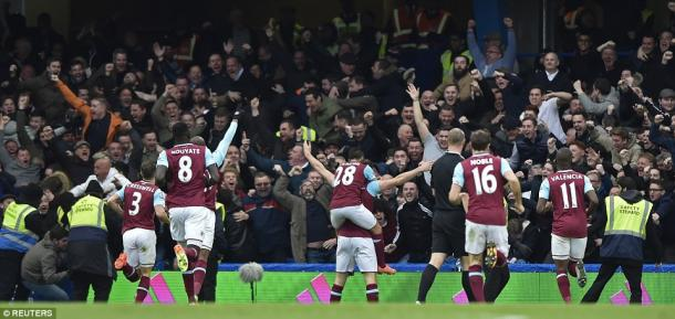 Above: Andy Carroll celebrating his goal in West Ham's 2-2 draw with Chelsea | Photo: Reuters