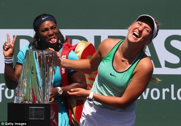 Serena Williams photobombs Victoria Azarenka at the Indian Wells Trophy Ceremony  Photo: Getty Images