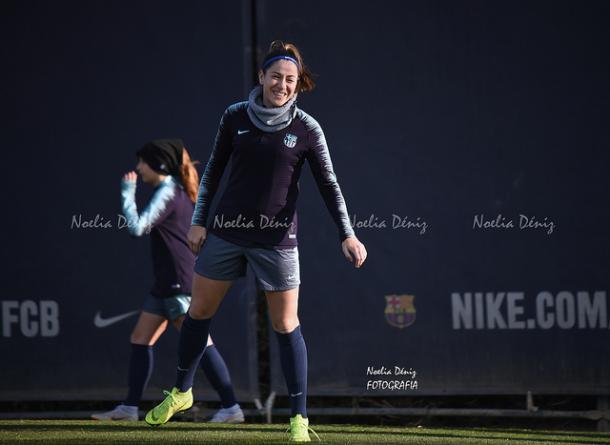 Vicky Losada en el entrenamiento previo al duelo ante el Espanyol | Foto: Noelia Déniz (VAVEL)