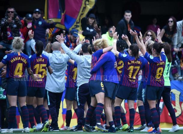 Las jugadoras del Barça celebran el pase a la final. FOTO: Noelia Déniz