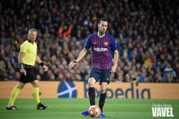 El jugador azulgrana en la ida de las semifinales ante el Liverpool / Foto: Noelia Déniz (VAVEL.com)