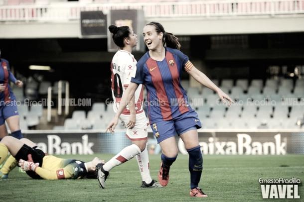 Marta Unzué celebrando un gol. Foto: Ernesto Aradilla, VAVEL.com