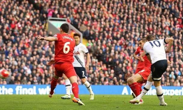 Kane scored a brilliant equliser for Spurs against Liverpool last weekend | Photo: Getty Images