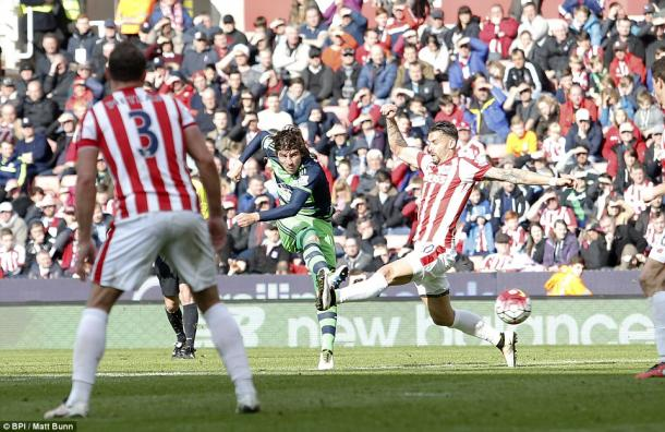 Paloschi fires in Swansea's equaliser in a 2-2 draw with Stoke City last weekend. (Photo: BPI/Matt Bunn)