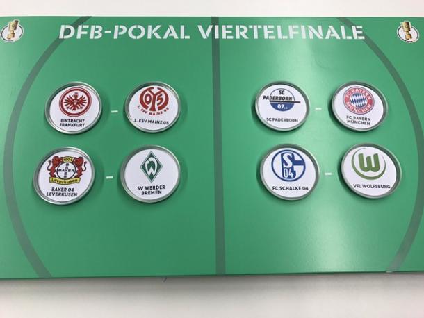Emparejamientos de cuartos de final.  Foto: Twitter @DFB-Pokal