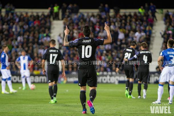 James Rodríguez celebra su gol contra el Leganés en Butarque. Imagen: Daniel Nieto (VAVEL)