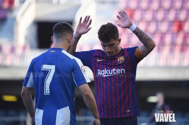 Monchu, en la derrota del Barcelona B ante el Espanyol de la pasada jornada | Foto: Noelia Déniz (VAVEL)