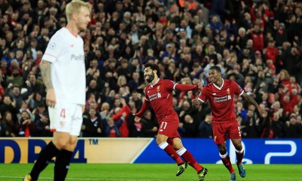 Salah esulta per il 2-1 | theguardian.com