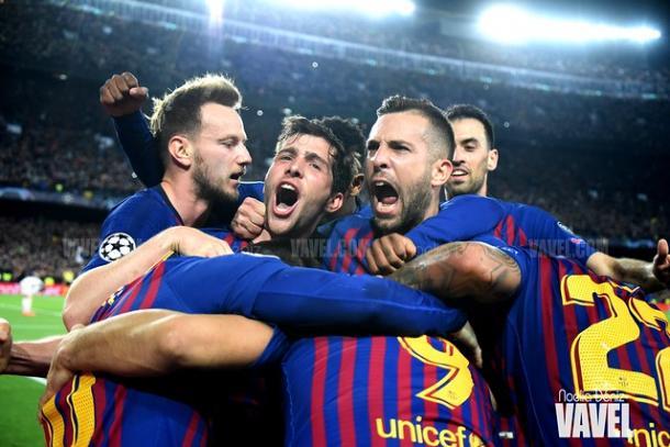 Los jugadores del Barcelona celebrando el 2-0 de Messi ante el Liverpool | Fuente: Noelia Déniz (VAVEL)