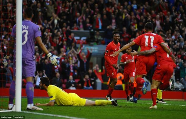 Esultano i giocatori del Liverpool dopo la rete al Villarreal | Foto: Graham Chadwick